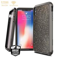 X-Doria Defense Lux - Etui aluminiowe iPhone Xs Max (Drop test 3m) (Dark Glitter)