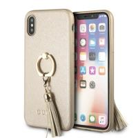 Guess Saffiano Ring Hard Case - Etui iPhone Xs / X z uchwytem na palec (beżowy)