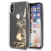 Guess Liquid Glitter Hearts - Etui iPhone Xs / X (złoty)
