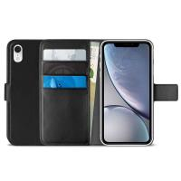 PURO Booklet Wallet Case - Etui iPhone XR z kieszeniami na karty + stand up (czarny)