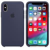 Apple Silicone Case - Silikonowe etui iPhone Xs (nocny błękit)