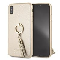 Guess Saffiano Ring Hard Case - Etui iPhone Xs Max z uchwytem na palec (beżowy)