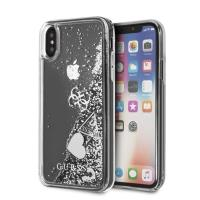 Guess Liquid Glitter Hearts - Etui iPhone Xs / X (Silver)