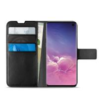 PURO Booklet Wallet Case - Etui Samsung Galaxy S10 z kieszeniami na karty + stand up (czarny)