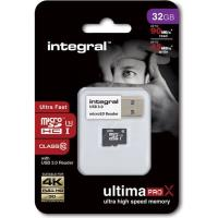 Integral UltimaPro X - Karta pamięci 32 GB microSDHC/XC 90/45 MB/s Class 10 UHS-I U3 + USB Reader