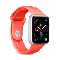 PURO ICON Apple Watch Band - Elastyczny pasek sportowy do Apple Watch 42 / 44 mm (S/M & M/L) (Living Coral)