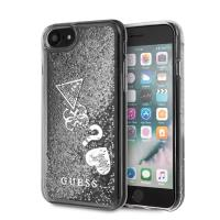 Guess Liquid Glitter Hearts - Etui iPhone SE 2020 / 8 / 7 (srebrny)