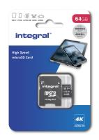 Integral High Speed microSDXC - Karta pamięci 64 GB z adapterem